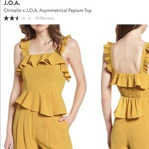 J.O.A by Chriselle Asymmetrical Peplum Top - M